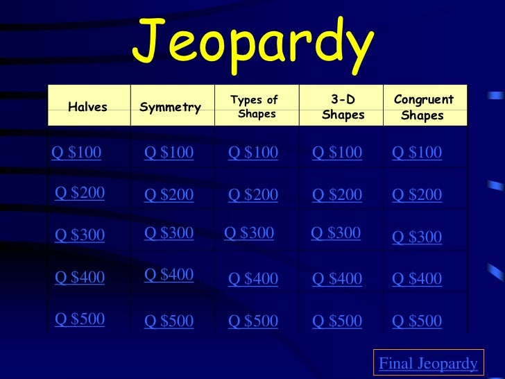Jeopardy                      Types of     3-D       Congruent  Halves   Symmetry    Shapes     Shapes      ShapesQ $100  ...