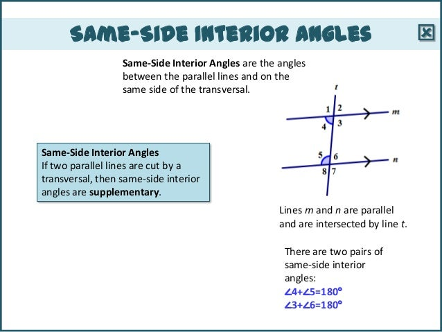 Same side interior angles are supplementary proof www - Definition of interior and exterior angles ...