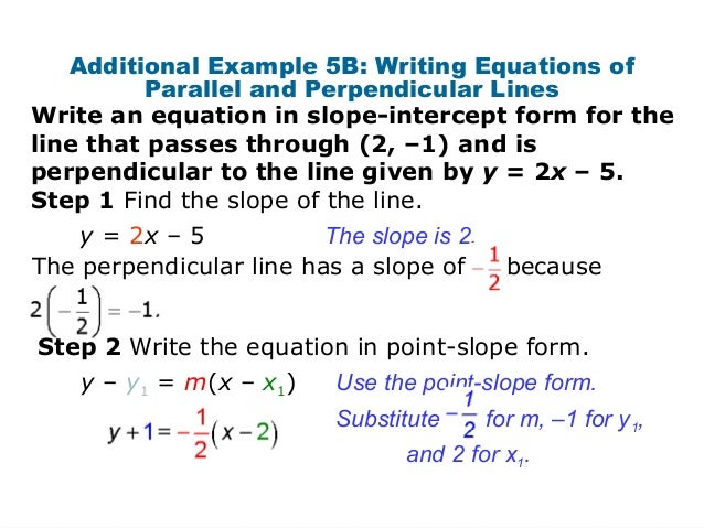 Slope-intercept form for perpendicular lines?