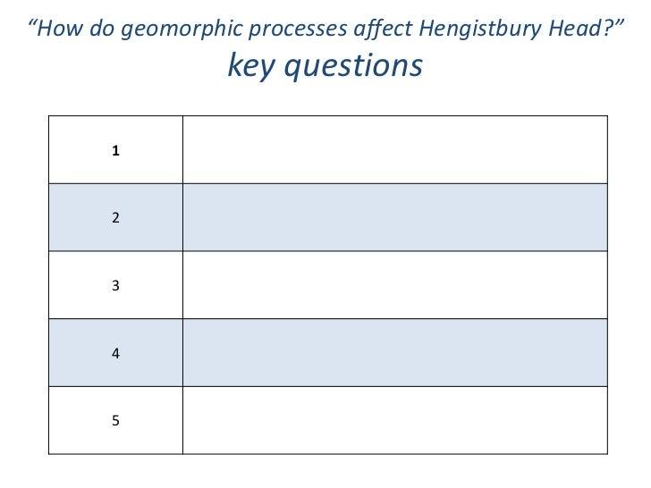 """How do geomorphic processes affect Hengistbury Head?""                  key questions       1       2       3       4     ..."