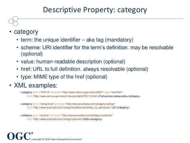 "OGC ® copyright © 2014 Open Geospatial Consortium Descriptive Property: category <category term=""722110"" scheme=""http://ww..."