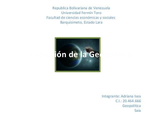 Republica Bolivariana de VenezuelaUniversidad Fermín ToroFacultad de ciencias económicas y socialesBarquisimeto, Estado La...