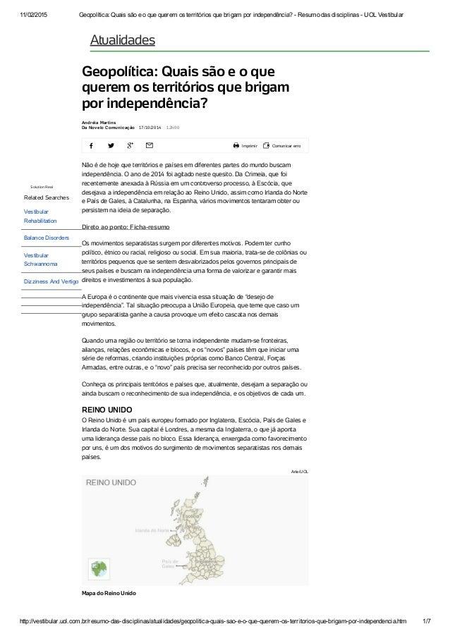 11/02/2015 Geopolítica:Quaissãoeoquequeremosterritóriosquebrigamporindependência?ResumodasdisciplinasU...