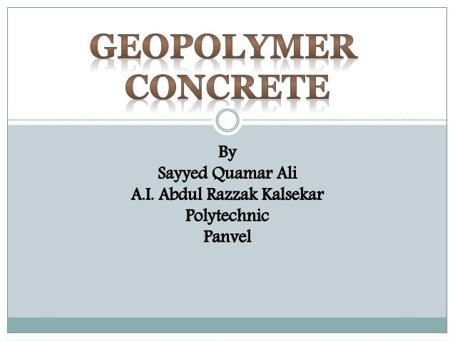 By Sayyed Quamar Ali A.I. Abdul Razzak Kalsekar Polytechnic Panvel