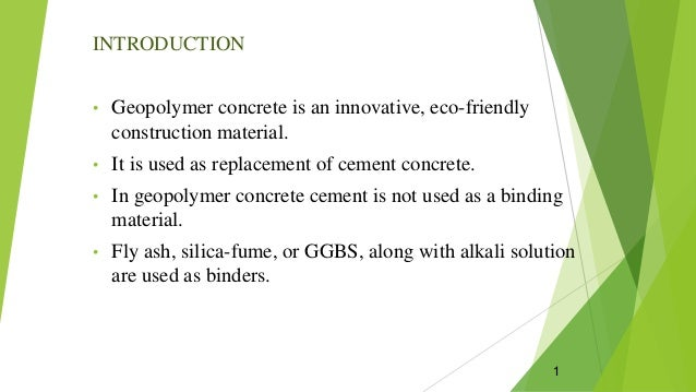 Geopolymer concrete ppt - SlideShare