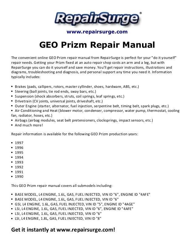 GEO Prizm Repair Manual 1990-1997SlideShare