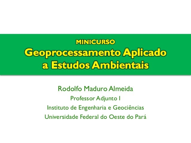 Rodolfo Maduro Almeida  Professor Adjunto I  Instituto de Engenharia e Geociências  Universidade Federal do Oeste do Pará