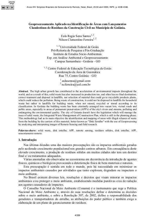 Geoprocessamento Aplicado na Identificação de Áreas com Lançamentos Clandestinos de Resíduos da Construção Civil no Municí...