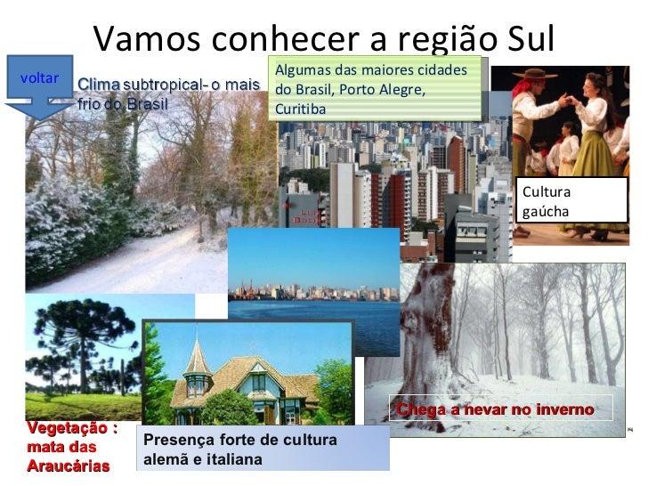 Vamos conhecer a região Sul Algumas das maiores cidades do Brasil, Porto Alegre, Curitiba Cultura gaúcha Chega a nevar no ...