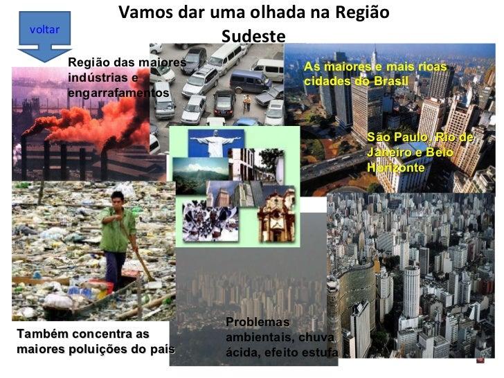 Vamos dar uma olhada na Região Sudeste voltar As maiores e mais ricas cidades do Brasil São Paulo, Rio de Janeiro e Belo H...