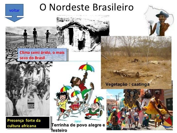 O Nordeste Brasileiro voltar Vegetação : caatinga Terrinha de povo alegre e festeiro Presença  forte da cultura africana C...