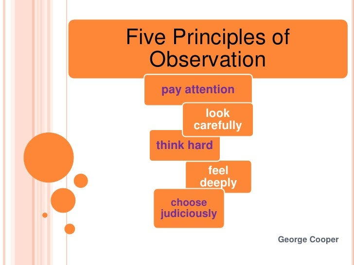 Five Principles of   Observation   pay attention           look         carefully   think hard           feel          dee...