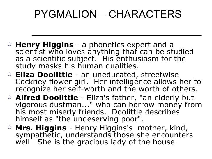 an analysis of the characters in pygmalion a play by george bernard shaw Pygmalion quotes  ― george bernard shaw, pygmalion  quotes by george bernard shaw play the 'guess that quote' game.