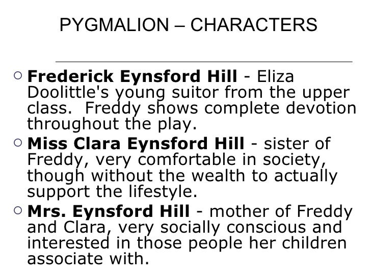an analysis of the development of elizas character in pygmalion by george bernard shaw Cognotes offers in-depth help with george bernard shaw's pygmalion  home analysis of major characters  this quote demonstrates the key moment of pygmalion.