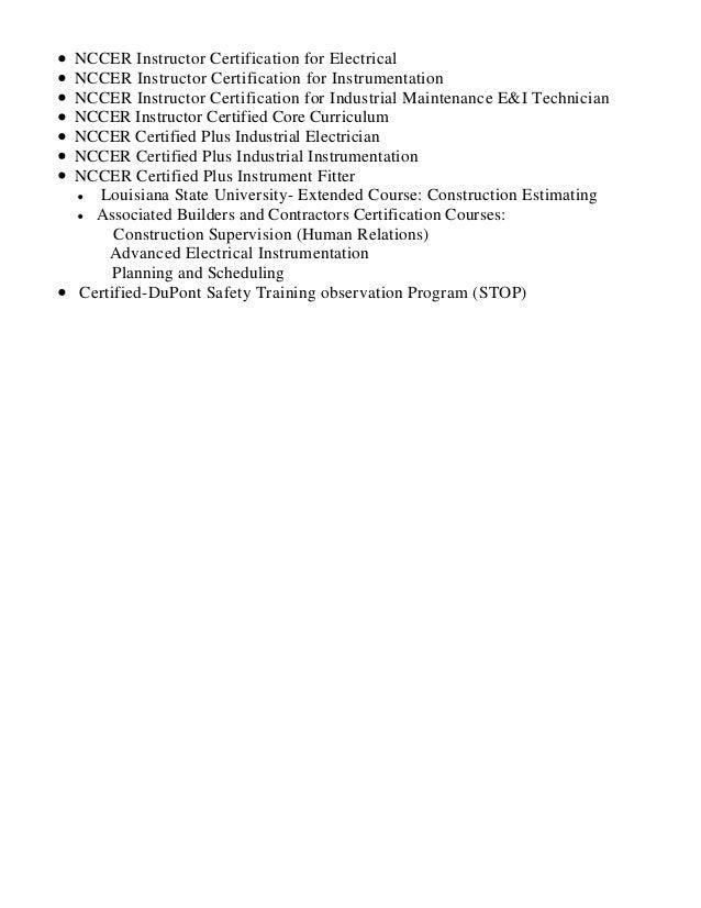 george blane resume 1 rh slideshare net Nccer Electrical Test Nccer Test for Millwrights