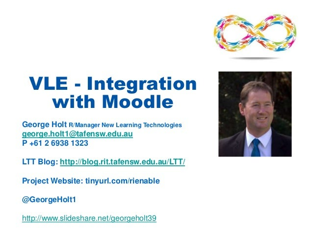 VLE - Integration with Moodle George Holt R/Manager New Learning Technologies george.holt1@tafensw.edu.au P +61 2 6938 132...