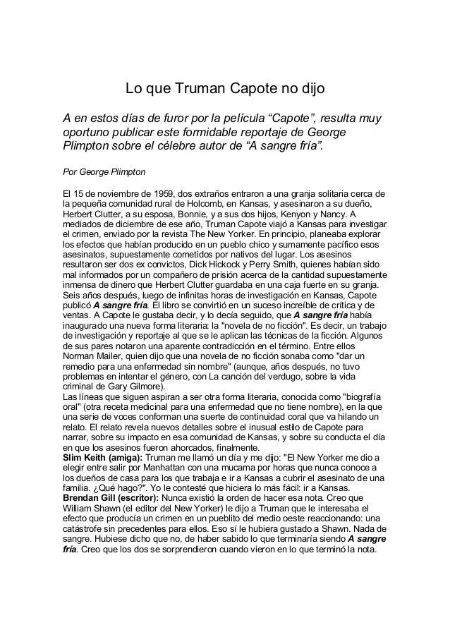 """Lo que Truman Capote no dijo A en estos días de furor por la película """"Capote"""", resulta muy oportuno publicar este formida..."""