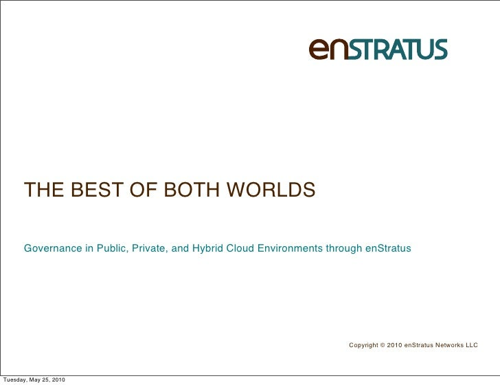 THE BEST OF BOTH WORLDS        Governance in Public, Private, and Hybrid Cloud Environments through enStratus             ...