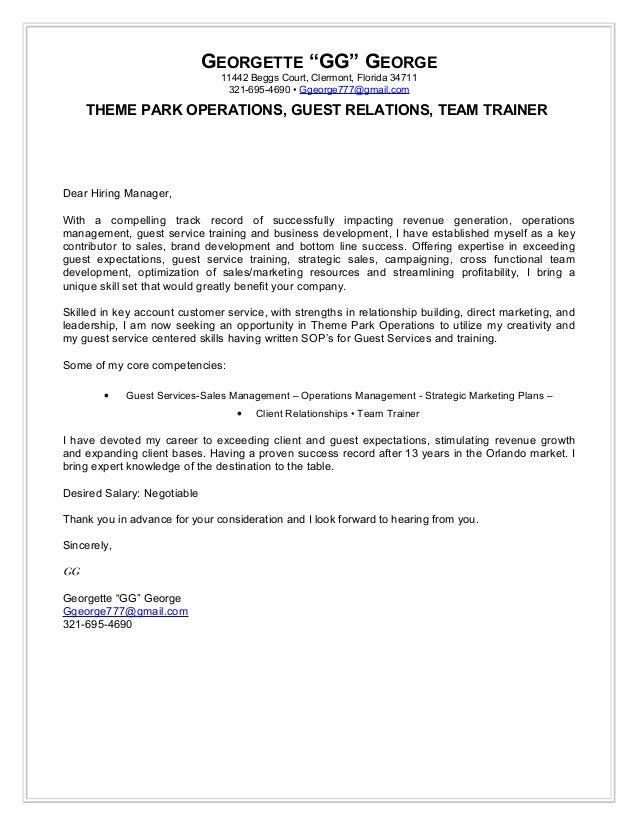 cover letter theme park operations guest services cover letter