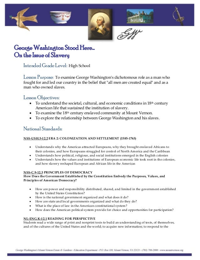 an introduction to the issue of slavery by george washington Along with his insightful introduction,  slavery at the home of george washington  - blog - information for publishers - report an issue - help - sitemap.