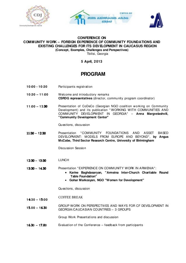 CONFERENCE ONCOMMUNITY WORK – FOREIGN EXPERIENCE OF COMMUNITY FOUNDATIONS ANDEXISTING CHALLENGES FOR ITS DEVELOPMENT IN CA...