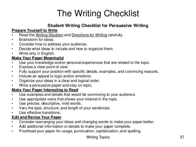 georgia high school writing test instruction and assessment guide writing topics  the writing checklist student