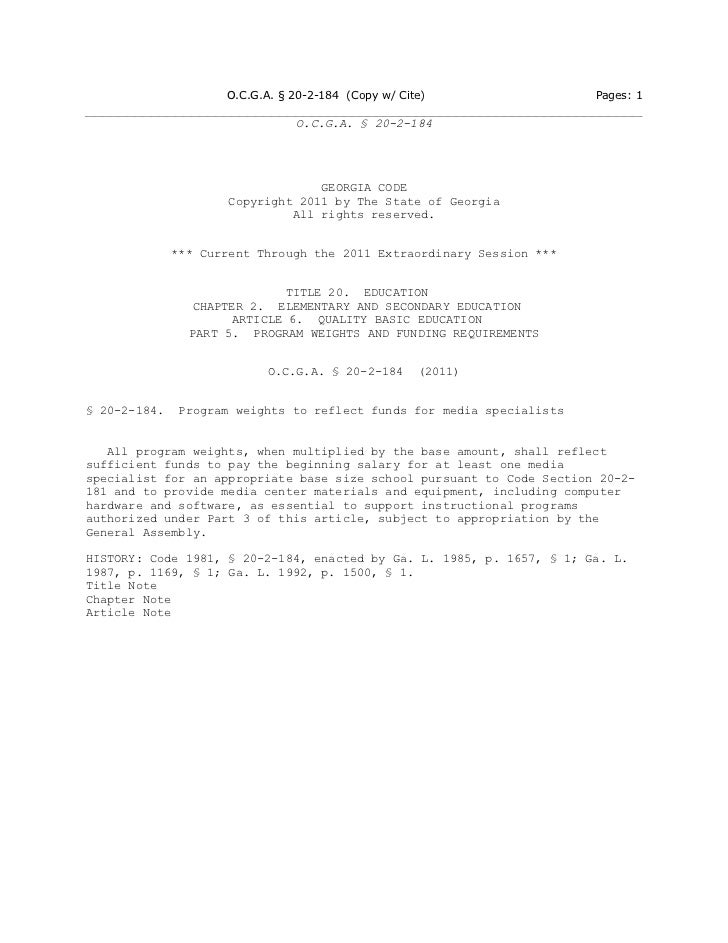 O.C.G.A. § 20-2-184 (Copy w/ Cite)                 Pages: 1                                O.C.G.A. § 20-2-184            ...