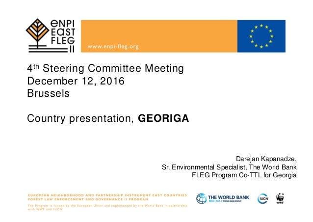 4th Steering Committee Meeting December 12, 2016 Brussels Country presentation, GEORIGA Darejan Kapanadze, Sr. Environment...