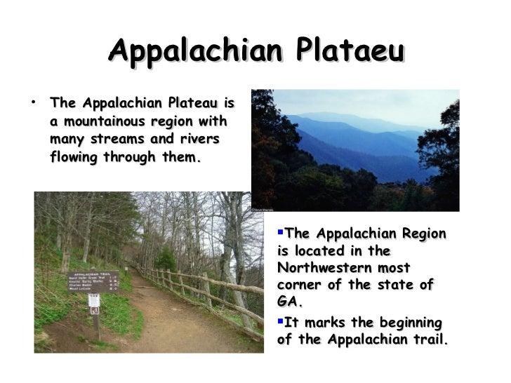 Appalachian Plataeu <ul><li>The Appalachian Plateau is a mountainous region with many streams and rivers flowing through t...