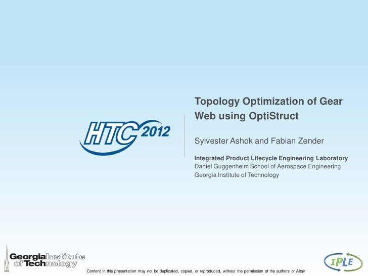 Topology Optimization of Gear                                                            Web using OptiStruct             ...