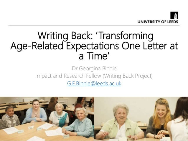 Writing Back: 'Transforming Age-Related Expectations One Letter at a Time' Dr Georgina Binnie Impact and Research Fellow (...