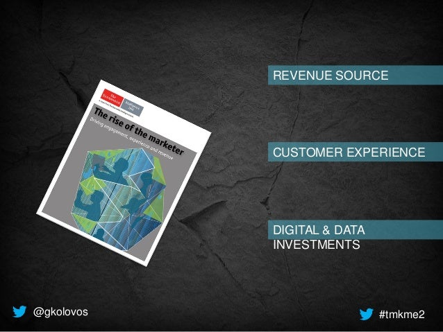 REVENUE SOURCE CUSTOMER EXPERIENCE DIGITAL & DATA INVESTMENTS @gkolovos #tmkme2