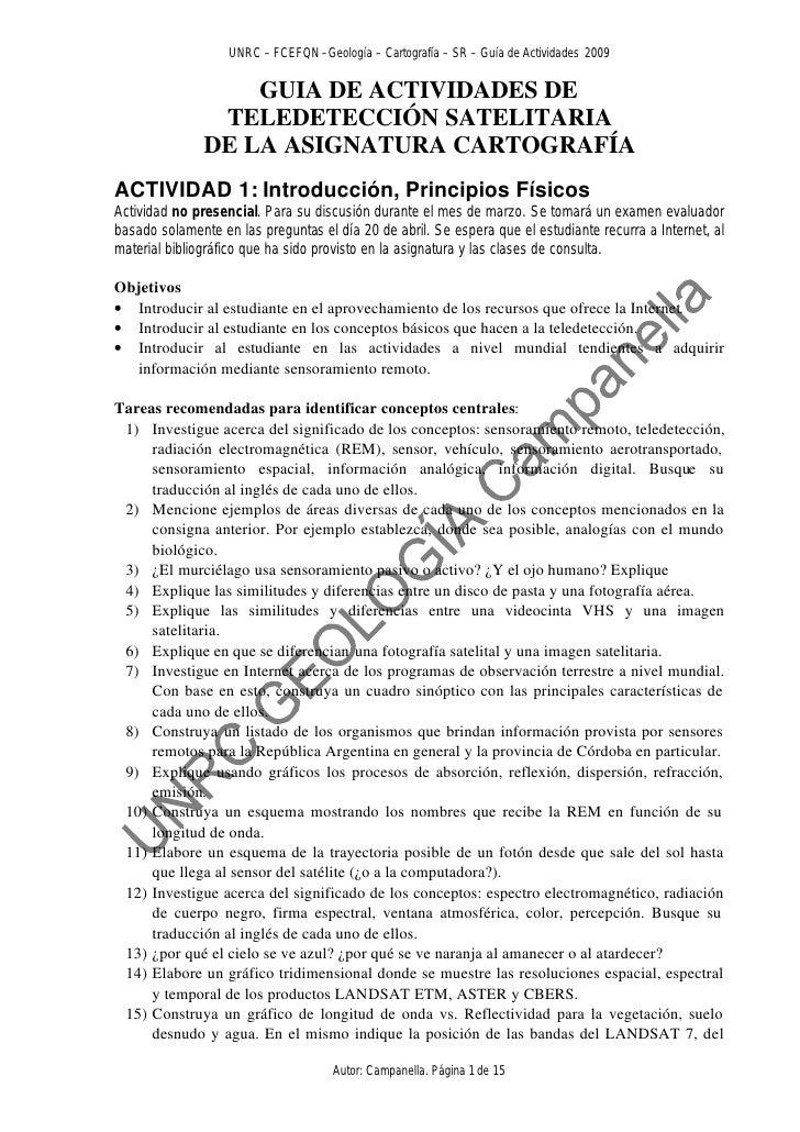 UNRC – FCEFQN –Geología – Cartografía – SR – Guía de Actividades 2009                     GUIA DE ACTIVIDADES DE          ...