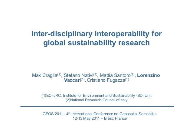 Max Craglia(1), Stefano Nativi(2), Mattia Santoro(2), Lorenzino Vaccari(1), Cristiano Fugazza(1) Inter-disciplinary intero...