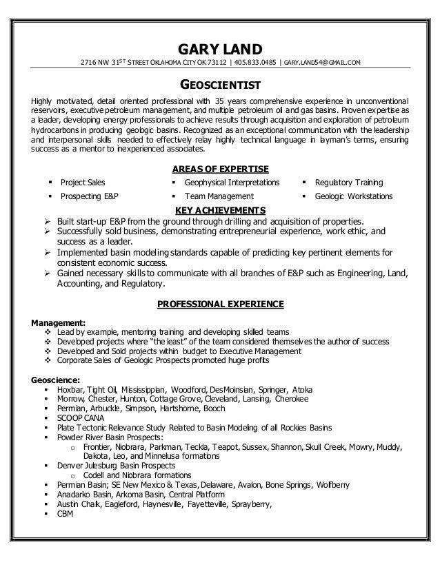 Geoscience resume