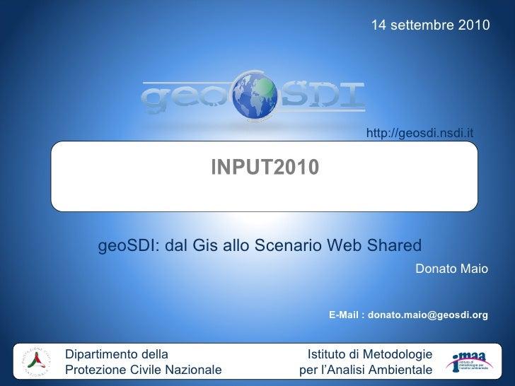 geoSDI : dal Gis allo Scenario Web Shared, di Dimitri Dello Buono