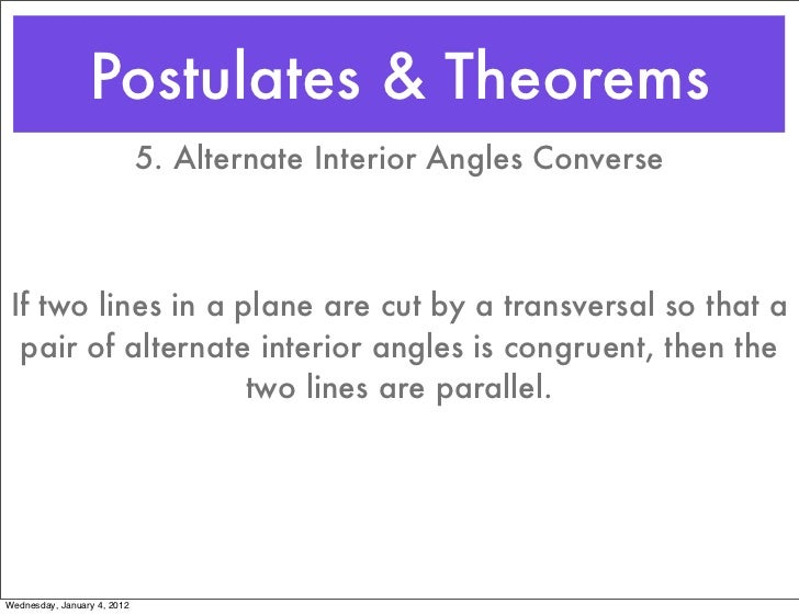 Geometry section 3 5 1112 - Alternate exterior angles converse ...