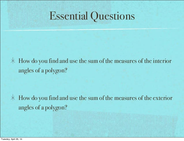 Geometry section 6 1 1112 for How do you find the exterior angles of a polygon