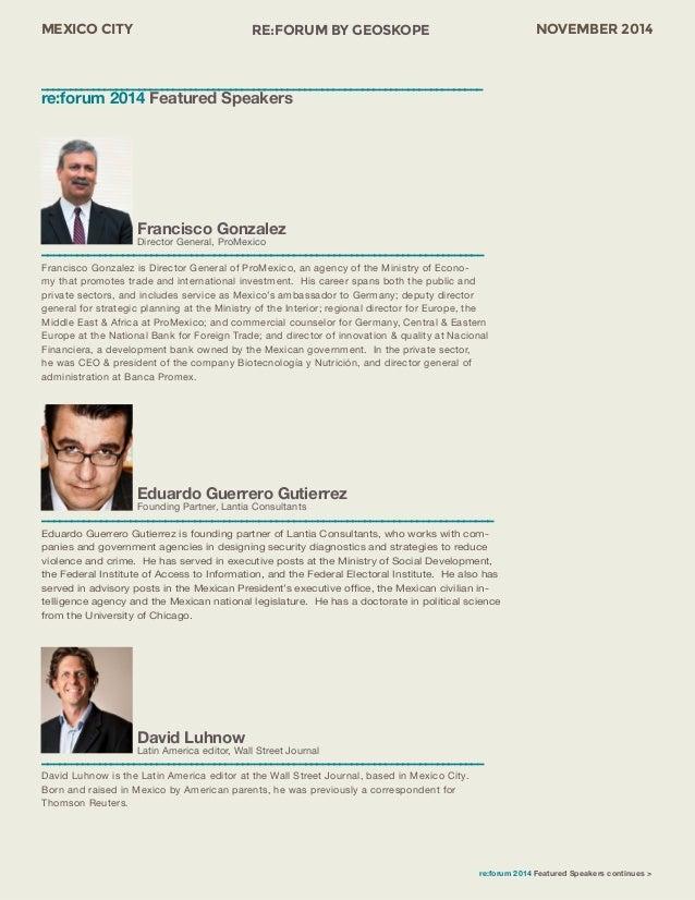 MEXICO CITY RE:FORUM BY GEOSKOPE NOVEMBER 2014  Eduardo Guerrero Gutierrez  Founding Partner, Lantia Consultants  ––––––––...