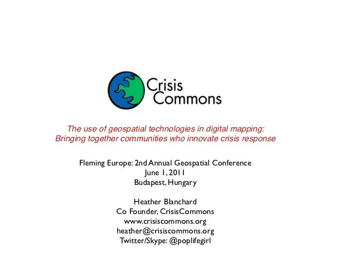 The use of geospatial technologies in digital mapping:Bringing together communities who innovate crisis response      Flem...