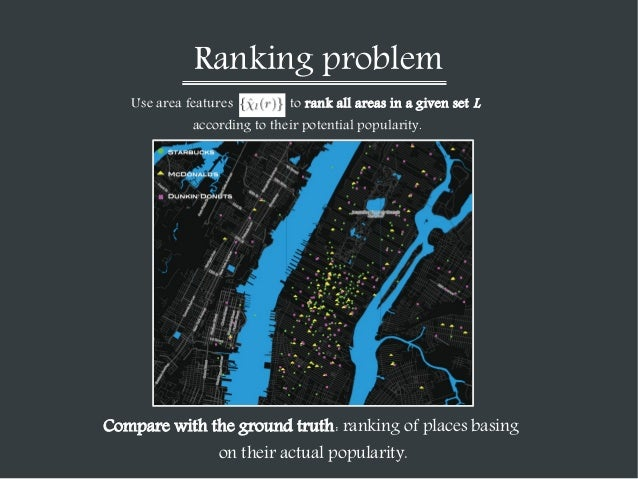 Ranking problem Use area features  to rank all areas in a given set L  according to their potential popularity.  Compare w...