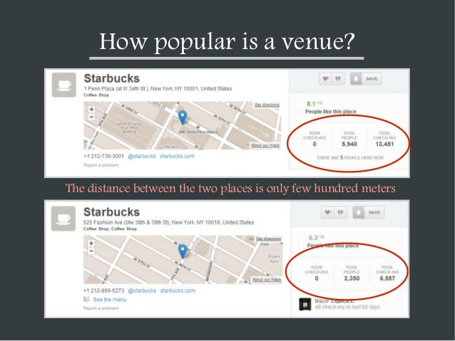 How popular is a venue?  The distance between the two places is only few hundred meters