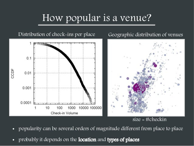 How popular is a venue? Distribution of check-ins per place  Geographic distribution of venues  size = #checkin ●  popular...