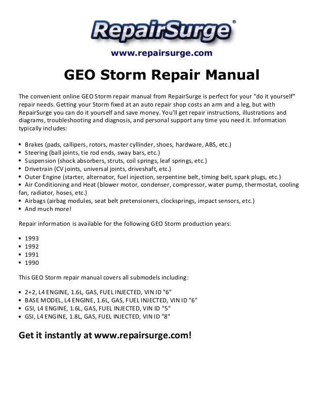 geo storm repair manual 1990 1993 Geo Thunderstorm