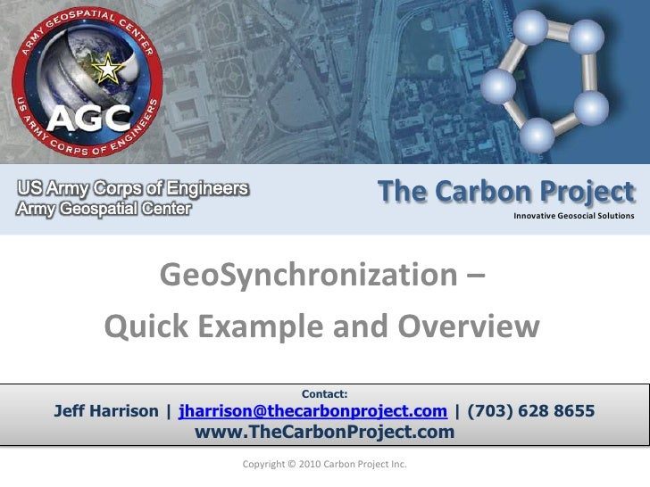 GeoSynchronization – <br />Quick Example and Overview<br />Copyright © 2010 Carbon Project Inc.<br />Contact:<br />Jeff Ha...