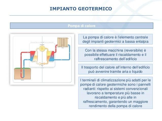 IMPIANTO GEOTERMICO Pompa di calore La pompa di calore è l'elemento centrale degli impianti geotermici a bassa entalpia Co...