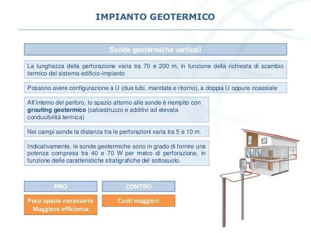 IMPIANTO GEOTERMICO Sonde geotermiche verticali La lunghezza della perforazione varia tra 70 e 200 m, in funzione della ri...