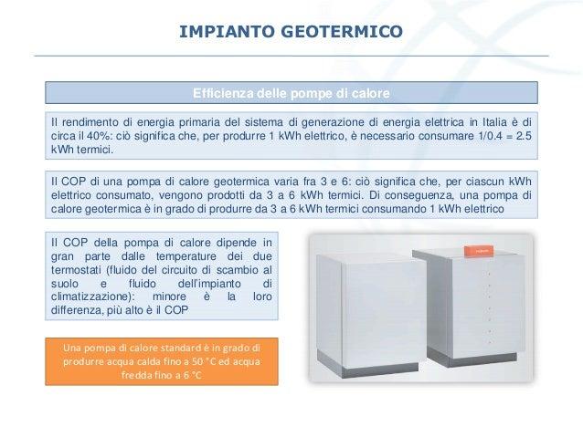 IMPIANTO GEOTERMICO Efficienza delle pompe di calore Il rendimento di energia primaria del sistema di generazione di energ...