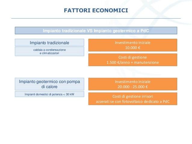 FATTORI ECONOMICI Impianto tradizionale VS Impianto geotermico a PdC Impianto tradizionale Investimento iniziale 10.000 € ...