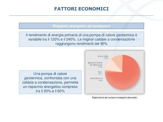 FATTORI ECONOMICI Il rendimento di energia primaria di una pompa di calore geotermica è variabile tra il 120% e il 240%. L...